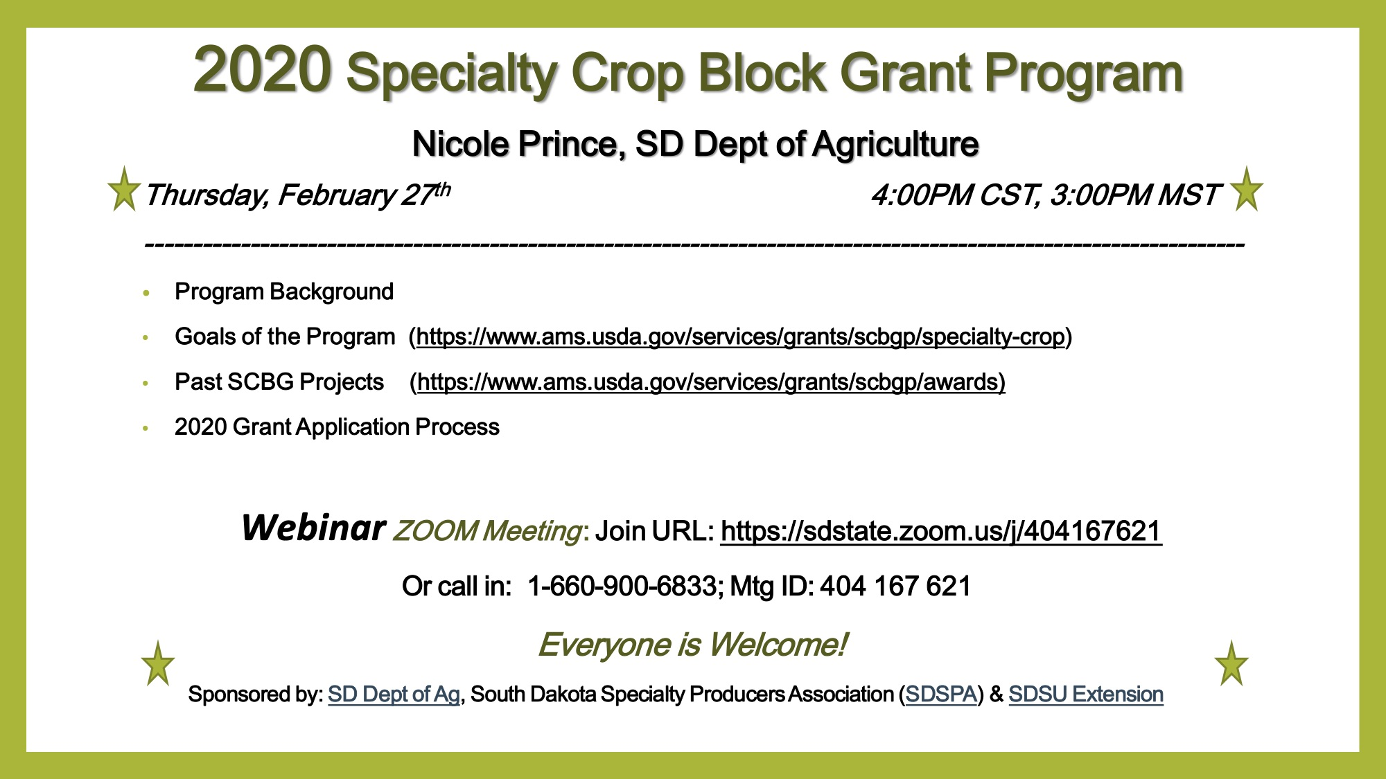 2020 Specialty Crop Block Grant Program Webinar