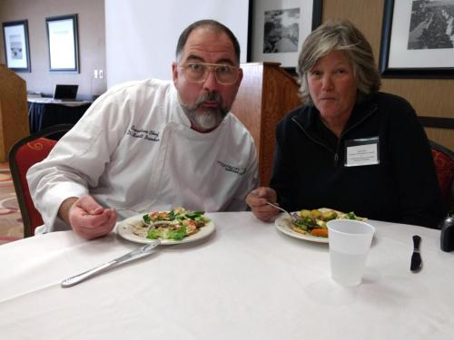 Delicious local foods for lunch with beef donated by Evergreen Ranching and Livestock! Osso Buco beef was prepared from Criollo heritage cattle, originally brought over by the Spaniards in the 1400's! During lunch Executive Chef Scott Brinker described the characteristics of grass-finished beef prepared for the meal.
