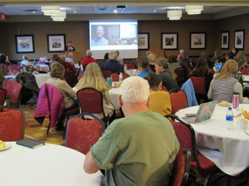 Carol Ford, Minnesota vegetable producer specializing in Deep Winter Greenhouse (DWG) production, educator with the Regional Sustainable Development Partnerships at Minnesota Extension, and author of 'Northland Winter Greenhouse,' presented her keynote talk Saturday, Nov. 2.