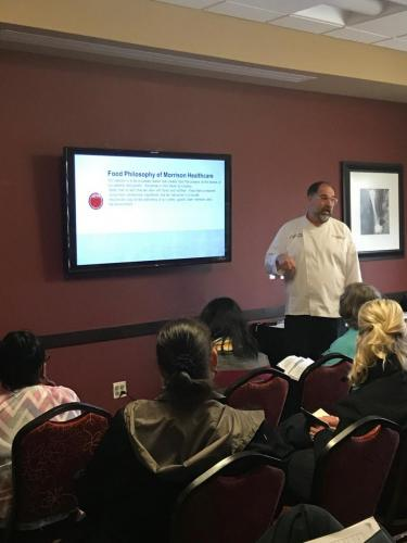 Chef Scott Brinker of Morrison Healthcare (Rapid City) at the 2019 Local Foods Conference presenting 'Food is Medicine.'