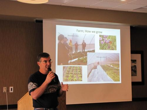 Jerry Cornett of Lakehouse Farm (Waverly, NE) at the 2019 Local Foods Conference presenting 'Production with a Restaurant Slant.'