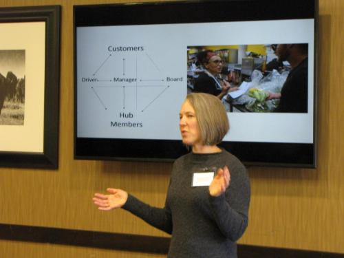 Kristianna Gehannt-Siddens of Dakota Fresh Food Hub at the 2019 Local Foods Conference presenting 'New Directions for SD Food Hubs.'