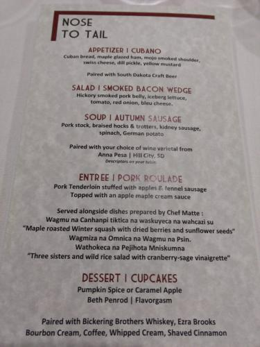 Nose to Tail Dinner Event Menu from Drifters Bar & Grill.