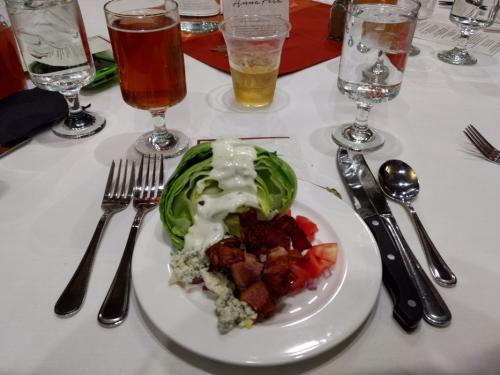 Nose to Tail Dinner: Smoked Bacon Wedge Salad- Hickory smoked pork belly, iceberg lettuce, tomato, red onion, bleu cheese.
