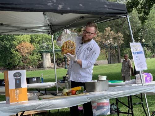 Sioux Falls Local Foods Fair 2019-Nicholas Skajewski from Avera cooking up bruschetta