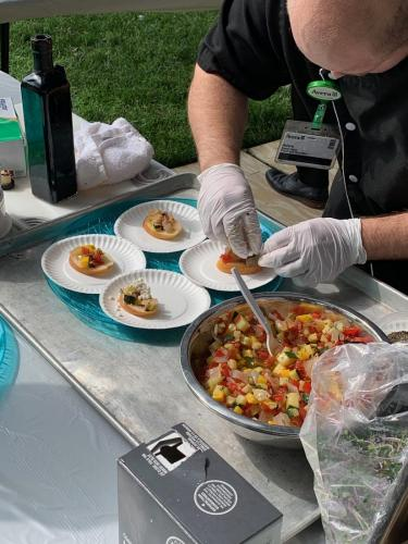 Sioux Falls Local Foods Fair 2019-Chefs from Avera cooking up bruschetta