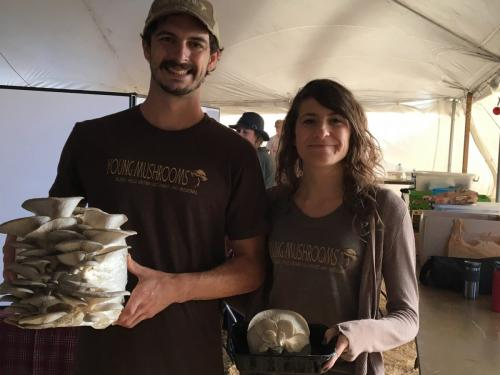 Jackson Young & Lindsey Block of Young Mushrooms showcase their oysters- Value Added Ag Day- S.D. State Fair 2019.