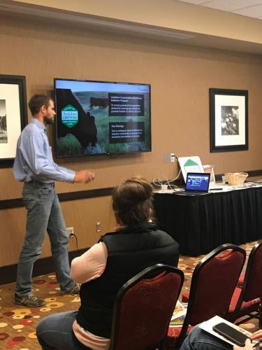 Josh Lefers of Audubon Dakota at the 2019 Local Foods Conference presenting 'Audubon Conservation Ranching Program.'