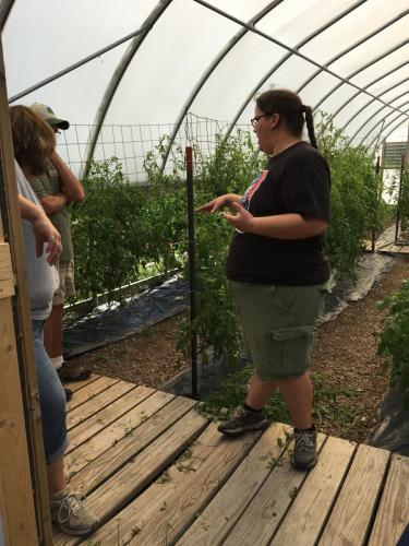 Carmelita Sully, Director of Sinte Gleska University Garden shares high tunnel production- SDSPA Tour Sept. 7, 2019.